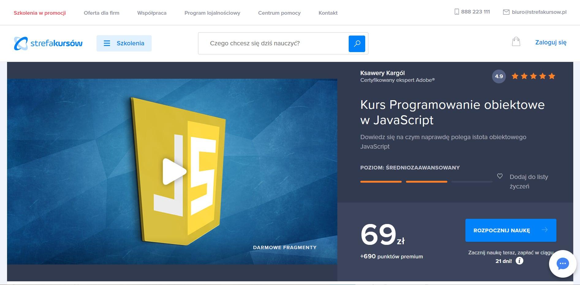 Programowanie obiektowe w JavaScript ze Strefy Kursów